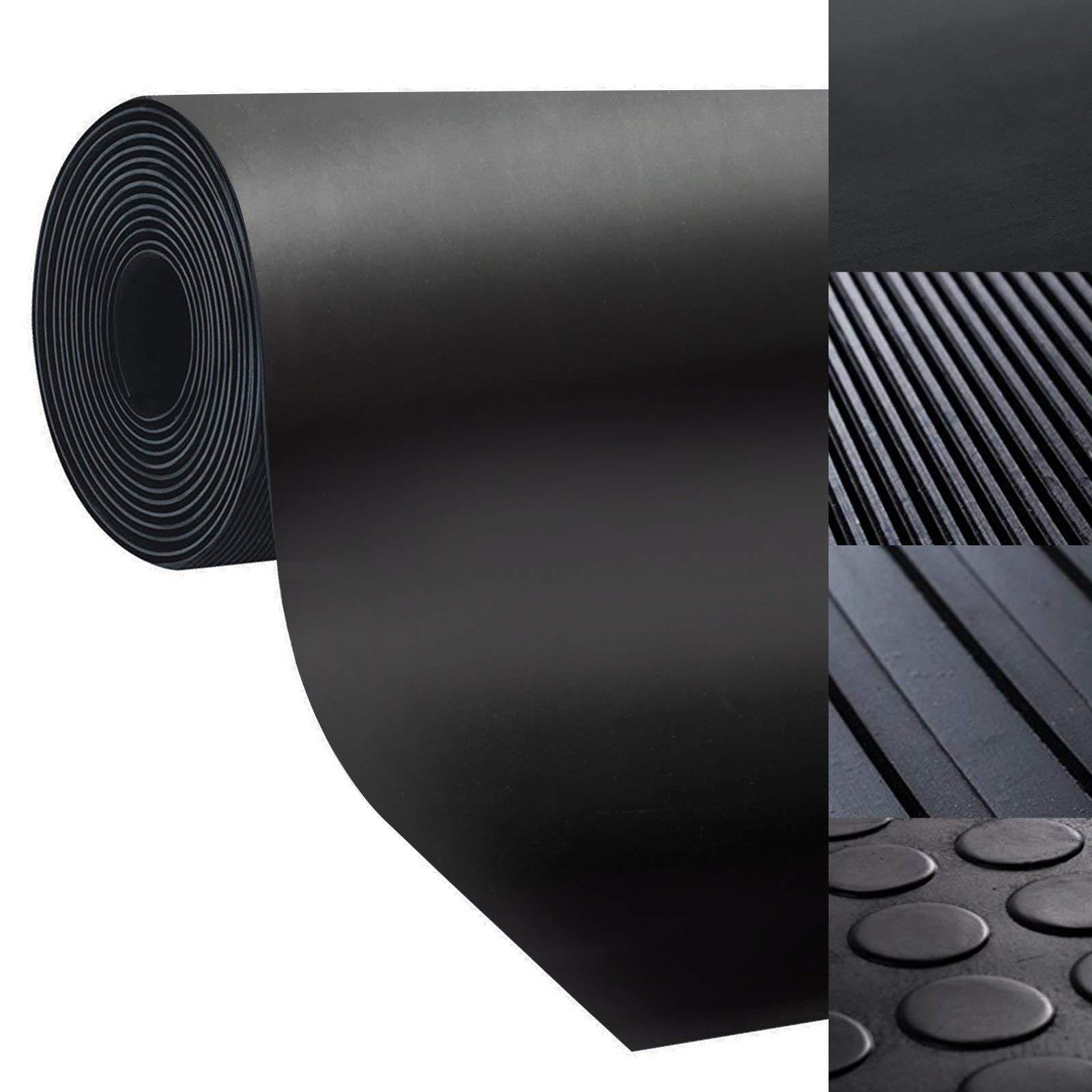 casa pura Rubber Floor Mat – Anti Slip Rubber Sheet | Suitable as Garage Floor Mat, Horse Stall Mat or Workbench Mat | Many Sizes to Choose from | 1/4'' Thick - 48'' x 6'