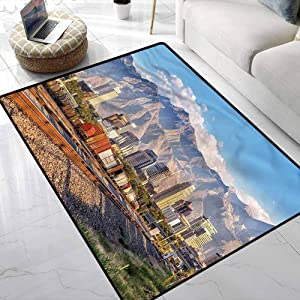 Rugs Landscape,Salt Lake City Utah USA Hand Woven Rug Contemporary Painting Art 5 x 7 Feet