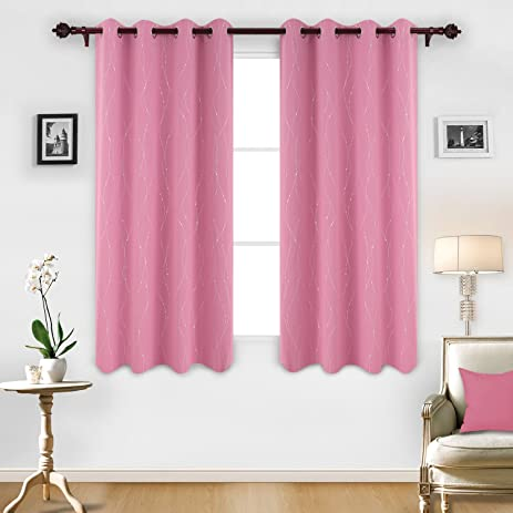 Deconovo Printed Pink Blackout Curtains Wave Line With Dots Light Blocking For Girls Room 52