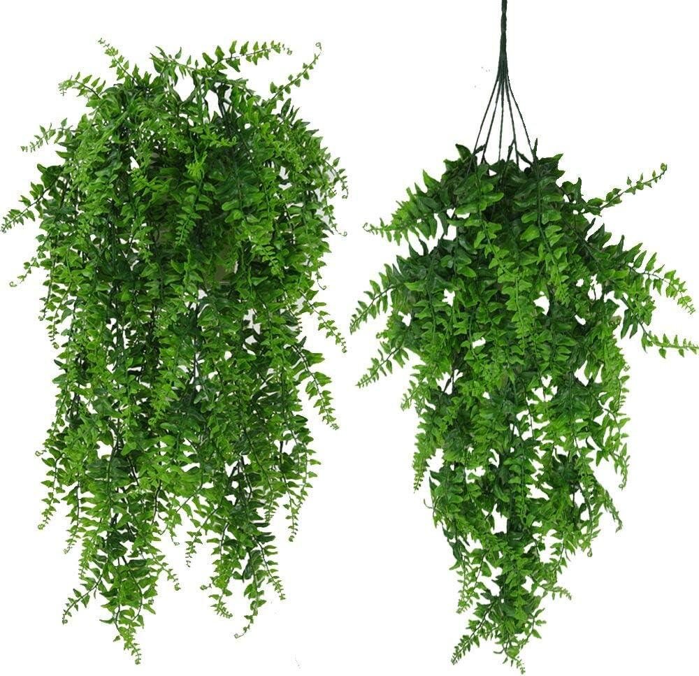 Fycooler Plantas Artificiales Greenery Boston Fern Rota Persa Planta de vides colgantes falsas Faux Ivy Vine Resistente a los rayos UV al aire libre para Jungle Party Home Décor