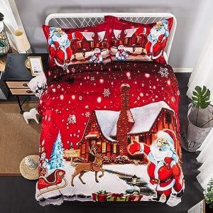 Christmas Santa Bedding Set Snowflake Print Duvet Cover 90x90'' 3 Pieces Santa Claus Pattern Bedding Cover Set Queen Size with 2 Pillow Sham(Not Comforter)
