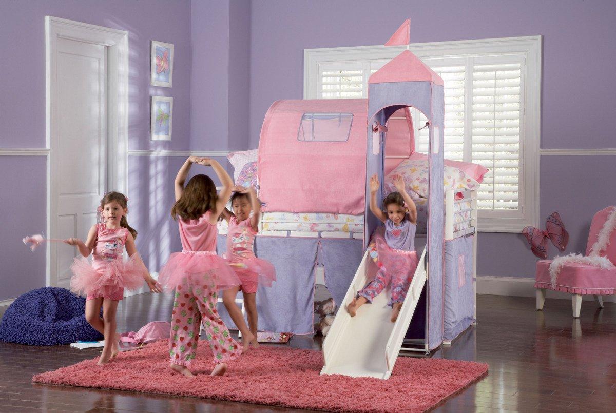 Amazon.com Princess Castle Twin Size Tent Loft Bed with Slide Kitchen u0026 Dining & Amazon.com: Princess Castle Twin Size Tent Loft Bed with Slide ...