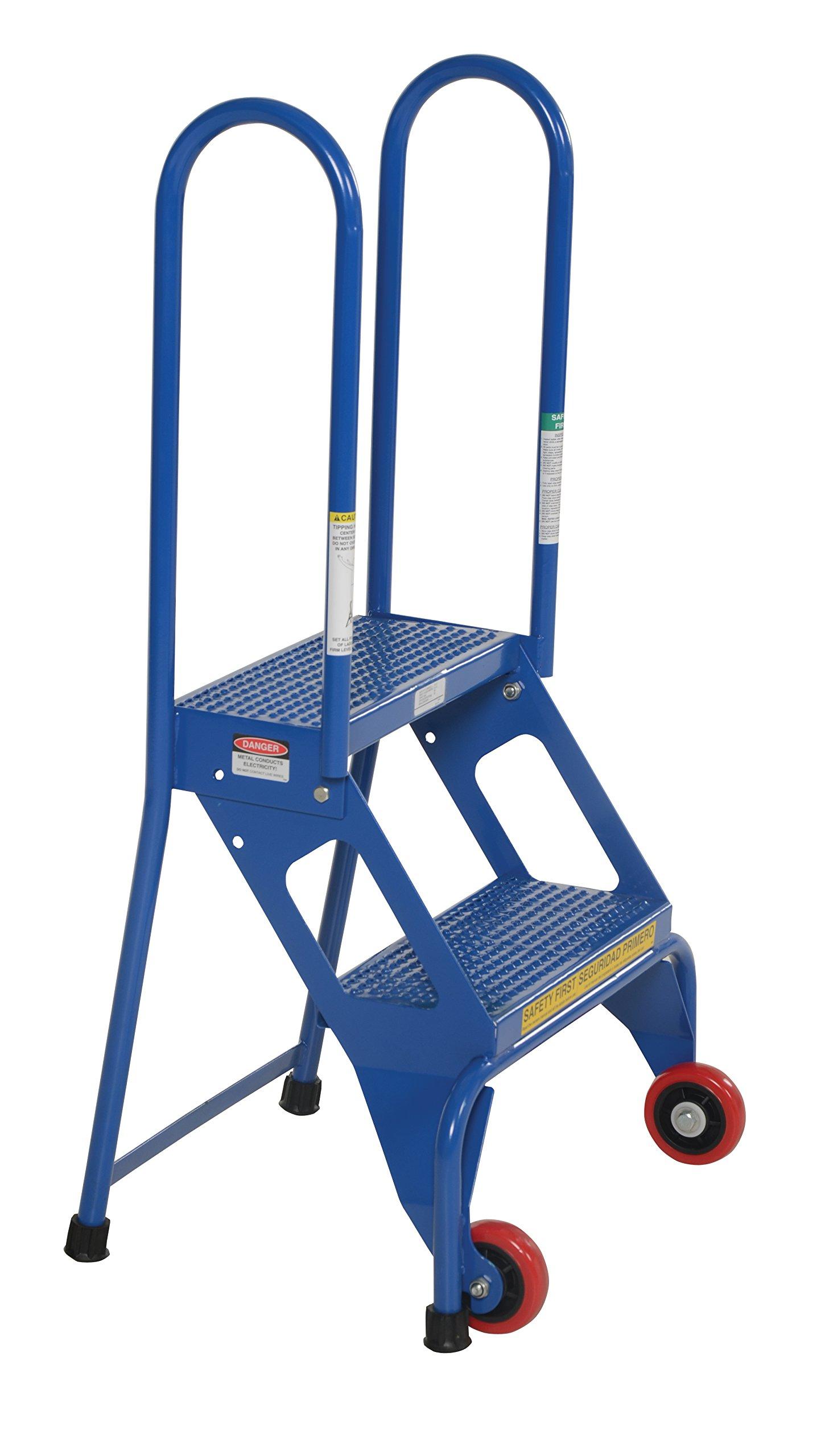 Vestil FLAD-2 Folding Ladder with Wheels, Carbon Steel, 2 Steps, 350 lbs Capacity, 20-5/8'' Top Step Height