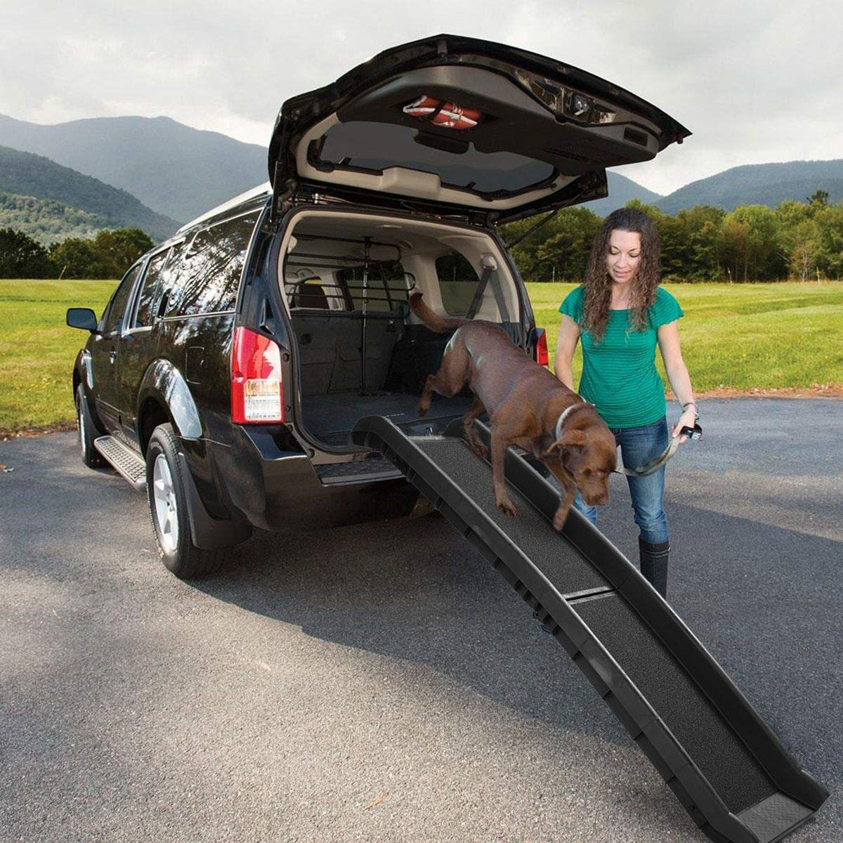 JAXPETY 62'' Portable Black Folding Pet Ramps for SUV Cars Travel Portable Light Weight by JAXPETY