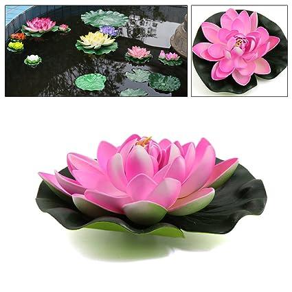 Sourcingmap® Planta Flotante Acuario Rosa Espuma Flor De Loto Estanque Decoración del Ornamento 17Cm Diámetro