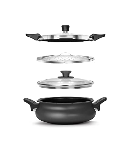 Pigeon By Stovekraft Belita Hard Anodized Super Cooker Set, 4-Pieces, Black