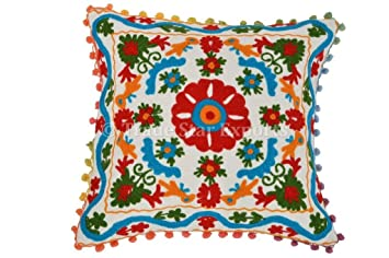 Suzani Embroidered Pillow Covers Decorative, Bohemian Cushion Covers 16x16  Pillow, Pom Pom Throw Pillows