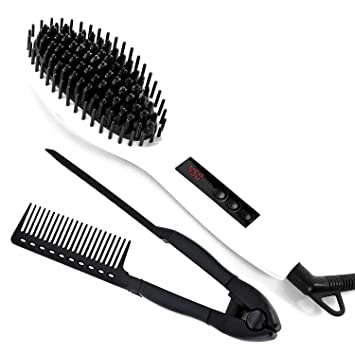 Straight&Shine Hair Straightening Ceramic Brush (Cepillo Alisador) with Styling Comb (Peine...