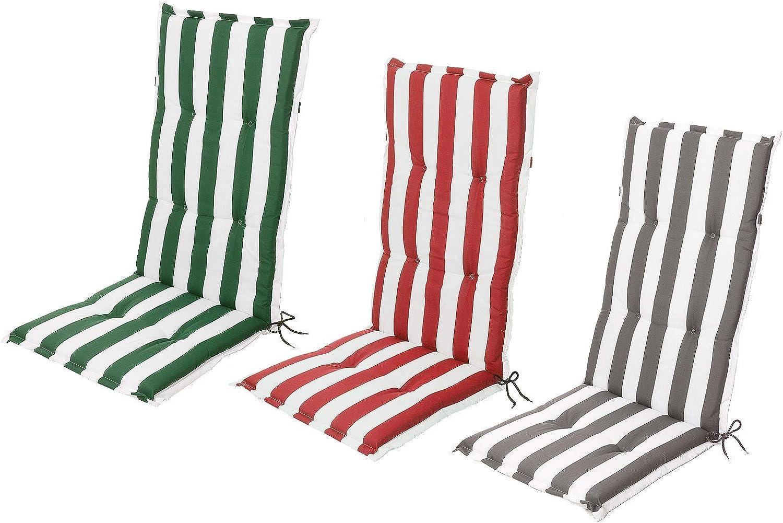 3 Colori Cuscino per Sedia da Giardino con Schienale Basso Motivo a Righe Schwar Textilien