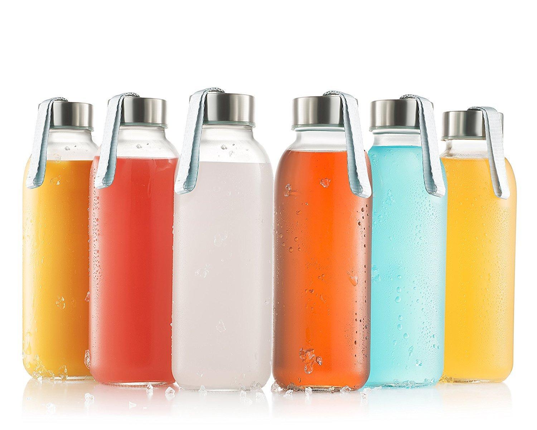 ガラスボトル6パック16オンス – ガラス飲料ボトルfor Beverage and Juice – 水ボトルガラスwithステンレススチールキャップwith Carryingループ – leak-proof蓋 B06XFR5JZY