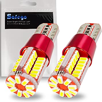 Safego 2x Bombillas W5W T10 Wedge LED 57SMD 3014 Luz Interior del Coche Laterales Blanco Xenon