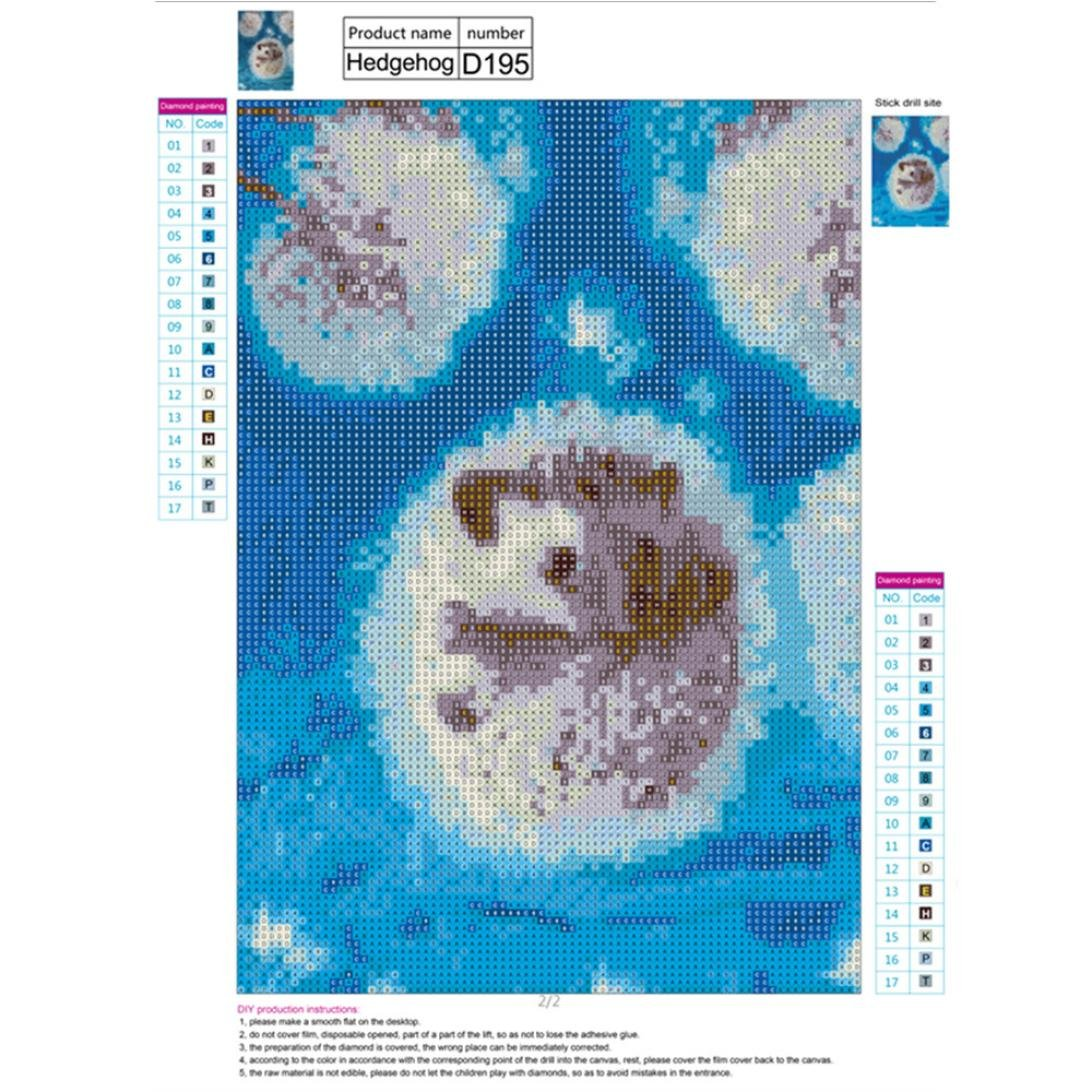 A Cute Hedgehog DIY Diamond Cross Stitch Painting Number Kit 5D Diamond Crystal Rhinestone Embroidery Painting Kits DIY Kids Room Wall Art Decor Staron Full Drill 5D Diamond Painting Kits