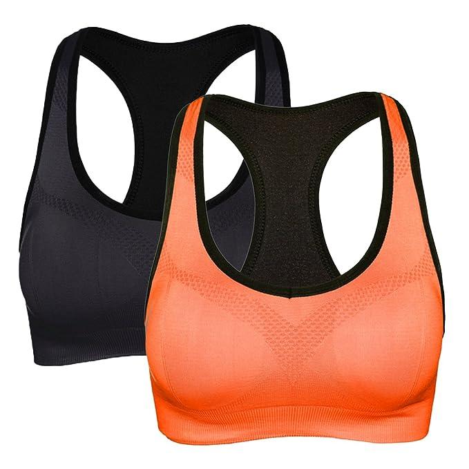 a4e0e429c YaShaer 2 Pack Women s Sports Bras Seamless High Impact Support Racerback  Workout Yoga Sports Bra