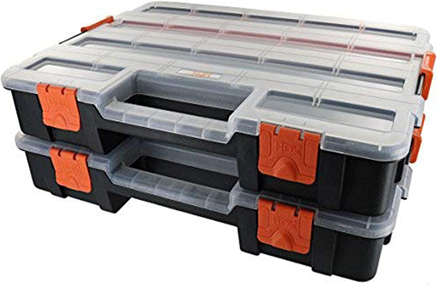 TEJAL HDX Tool Box Organizer, Interlocking Black Small Parts Organizer for Fasteners and Crafts w/Removable Dividers (2 Pack) with Single Touch Door Opener Tool