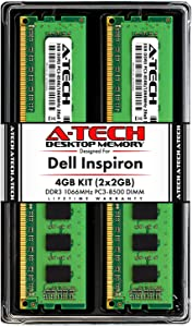 A-Tech 4GB (2x2GB) RAM for Dell Inspiron 560, 560s, 570 | DDR3 1066MHz DIMM PC3-8500 240-Pin Non-ECC UDIMM Desktop Memory Upgrade Kit