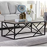 """Homissue 44"""" Industrial Style Coffee Table, Rectangular Cocktail Table with Sturdy Metal Base for Living Room, Retro Brown Finish"""