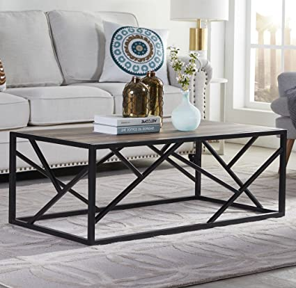 Homissue 44u201d Industrial Style Coffee Table, Rectangular Cocktail Table With  Sturdy Metal Base For