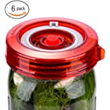 6-Pack Fermenting Lids Kit w/ Bonus Pump, galahome Waterless Airlock For Mason Jar Fermentation, Turn Wide Mouth Jars to Crock Pots, Red ( 2 Colors Available )