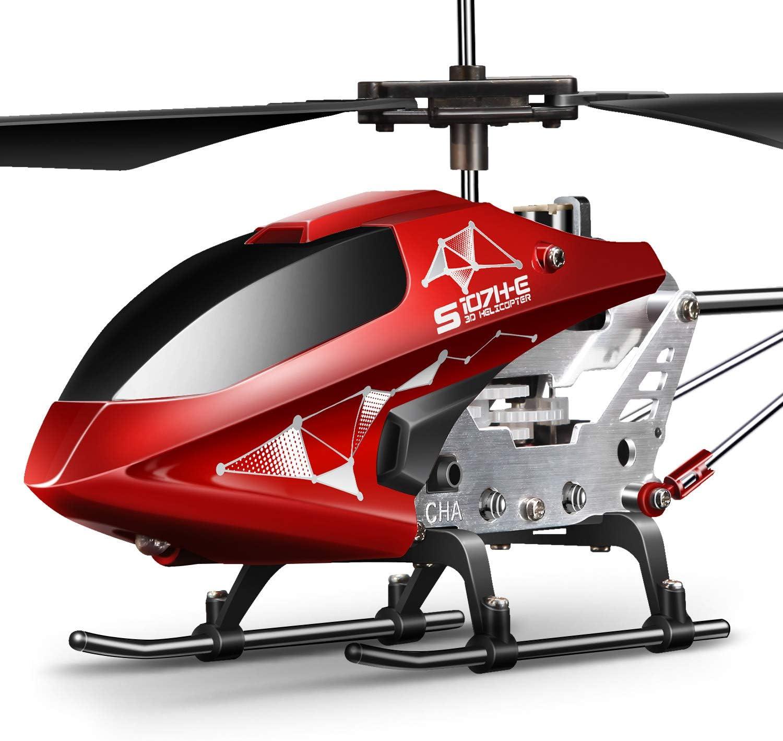 SYMA Helicóptero teledirigido helicóptero teledirigido helicóptero RC Helicóptero interior exterior avión regalo niños S107H-E 3.5 Canal 2.4 GHz LED luz giroscópica altura mantener rojo