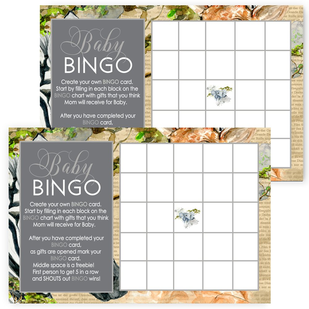 Jungle Baby Shower Bingo Game Set of 25 Fill In Cards by Paper Clever Party