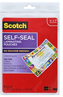 Amazon scotch ls851g self sealing laminating pouches 95 mil scotch glossy document or photo laminating pouch 5 x 7 inches 5 pack reheart