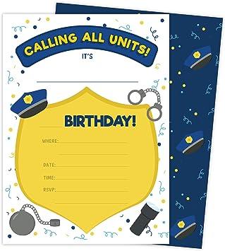Tarjetas de invitación para cumpleaños de policía de 2 invitaciones (25 unidades) con sobres y pegatinas de sello de vinilo para niñas y niños (25 unidades): Amazon.es: Juguetes y juegos