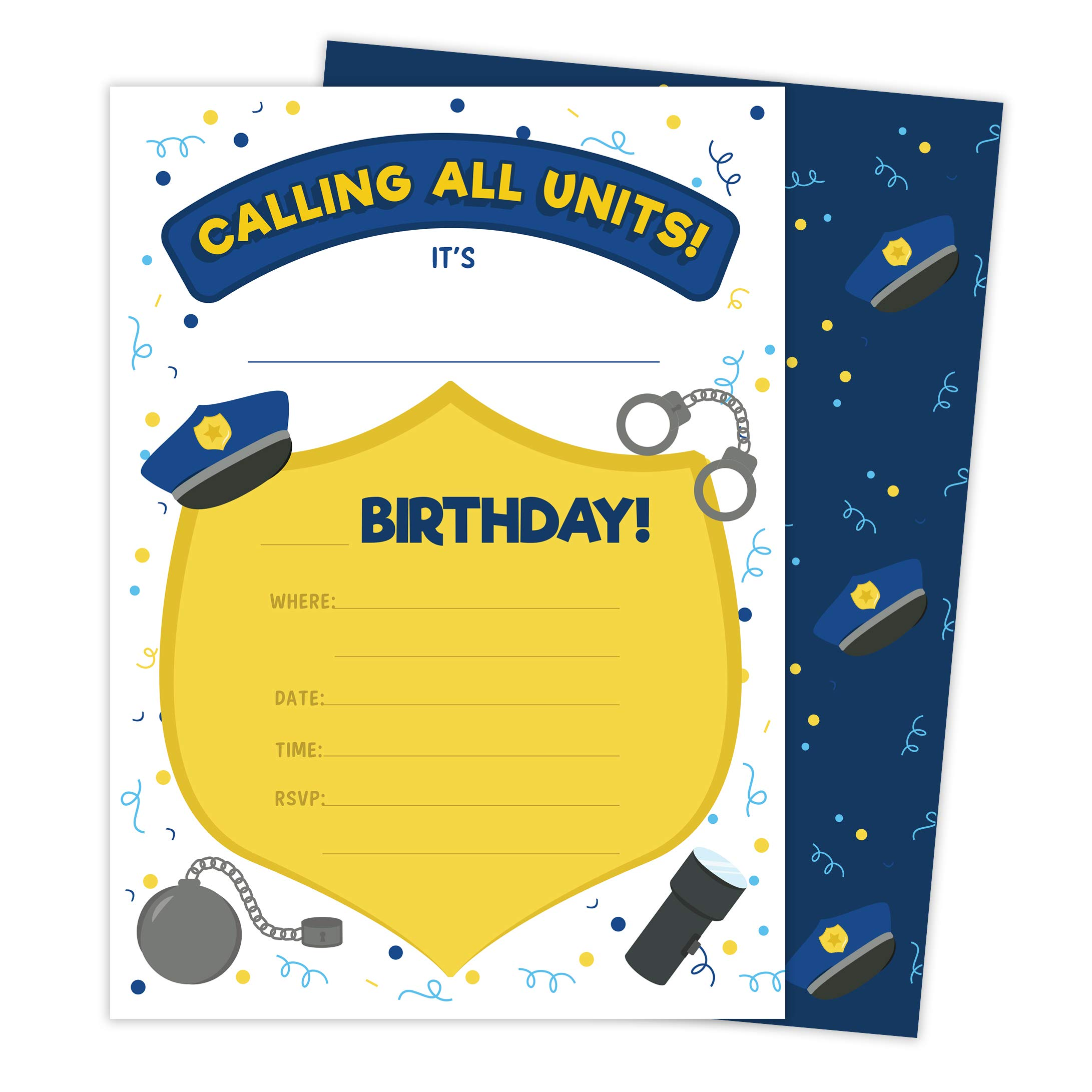 Police 2 Invitations (25 ct.) Invite Cards Happy Birthday Invitations Invite Cards With Envelopes & Seal Stickers Vinyl Girls Boys Kids Party (25ct) by Desert Cactus (Image #1)