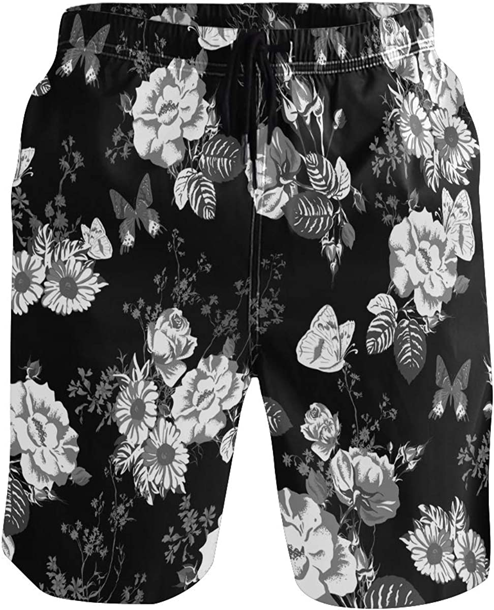 Mens Floral Printed Mesh Elastic Bikini Shorts Swimwear Swimming Trunks Thongs