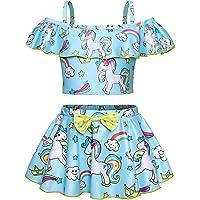 WonderBabe Traje de Baño de Unicornio Arcoiris Traje de Baño de Verano con Volantes Top y Falda Corta