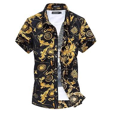 900c883665c42 YuanDian Men Retro Floral Printed Beach Shirts Plus Size Slim Fit Hawaiian  Tropical Aloha Funky Short