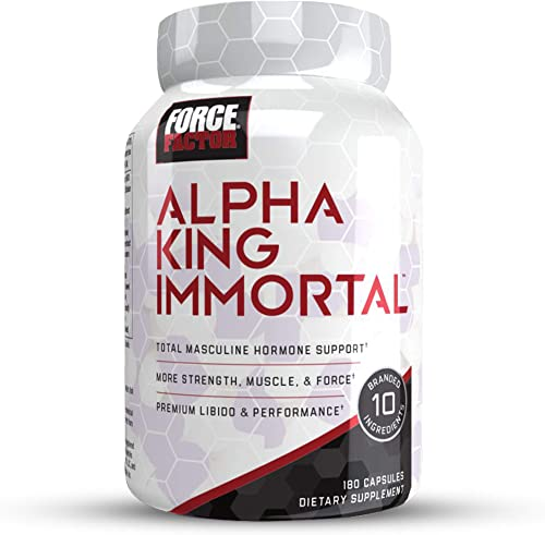 Force Factor Alpha King Immortal Total Masculine Hormone Support, Boost Testosterone Reduce Estrogen, Improve Strength, Muscle, Force, Enhance Performance, 180 Count