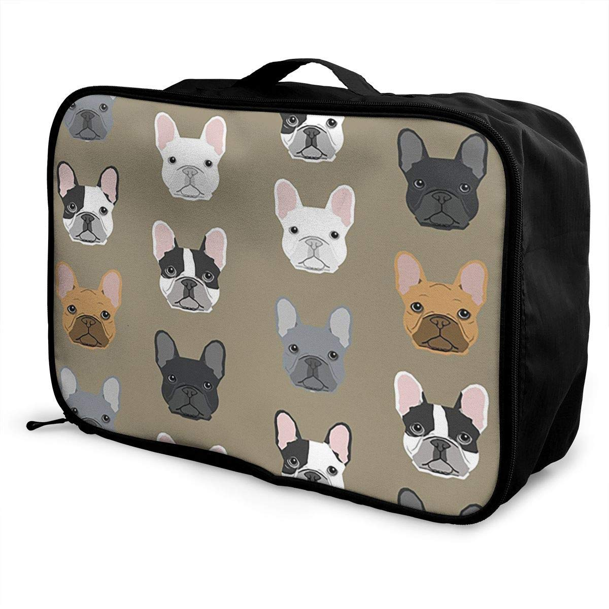 Portable Luggage Duffel Bag French Bulldog Design Sweet Dogs Travel Bags Carry-on In Trolley Handle