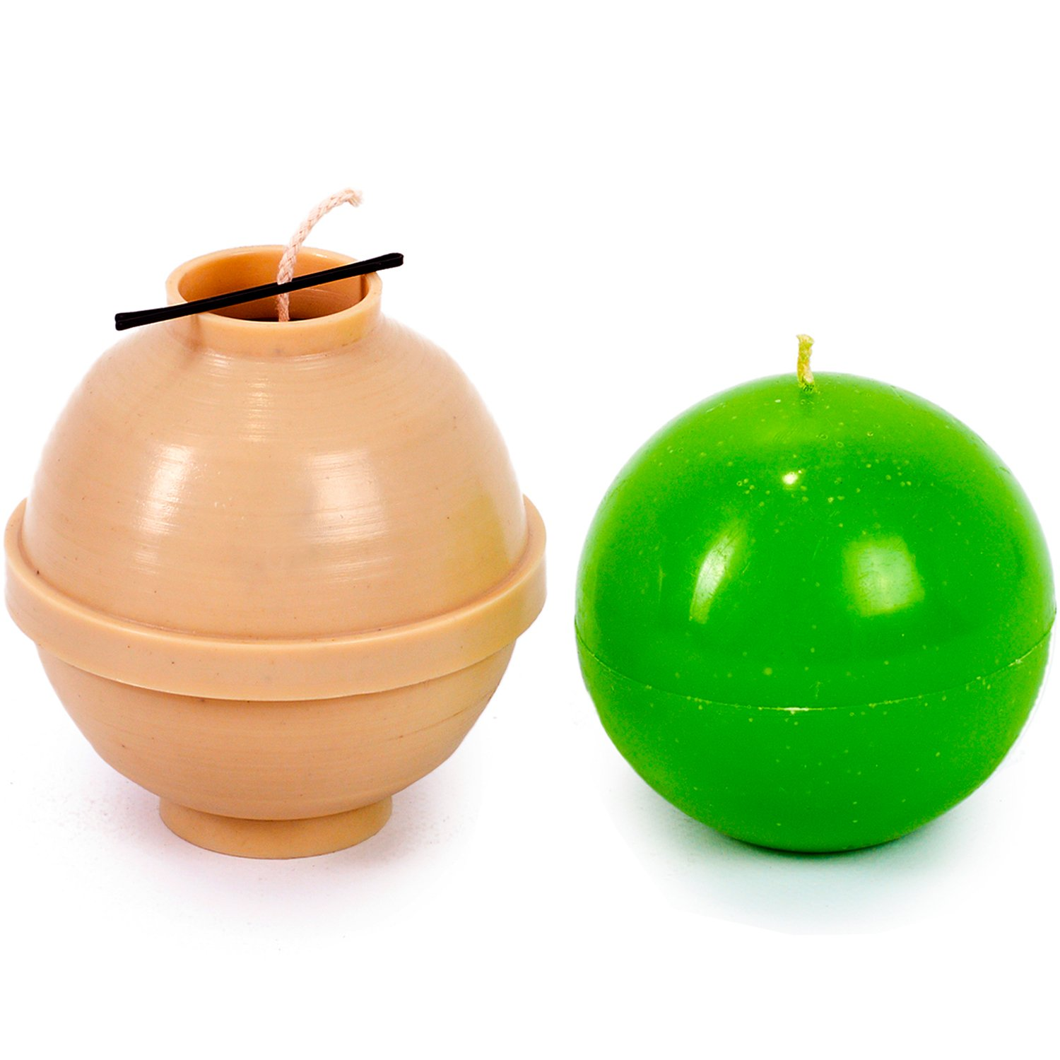 30 ft Ball diameter: 4.7 in Sphere of wick included as a gift Plastic candle molds for making candles