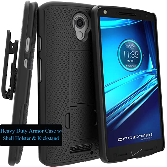 Motorola DROID TURBO 2 Case, Verizon XT1585 Case, Black Swivel Slim Belt Clip Holster
