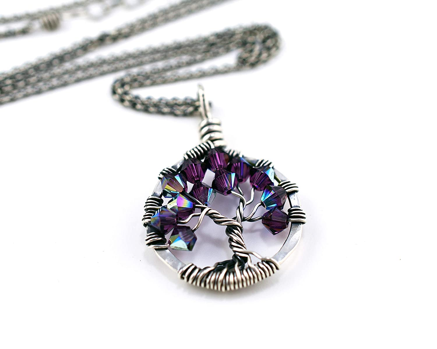 Amethyst Tree of Life Pendant in Sterling Silver