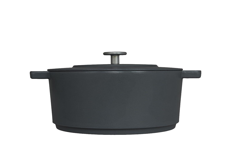 "Combekk RAILWAY Recycled Enameled Cast Iron 4.25 Quart Dutch Oven, Concrete, 11"""