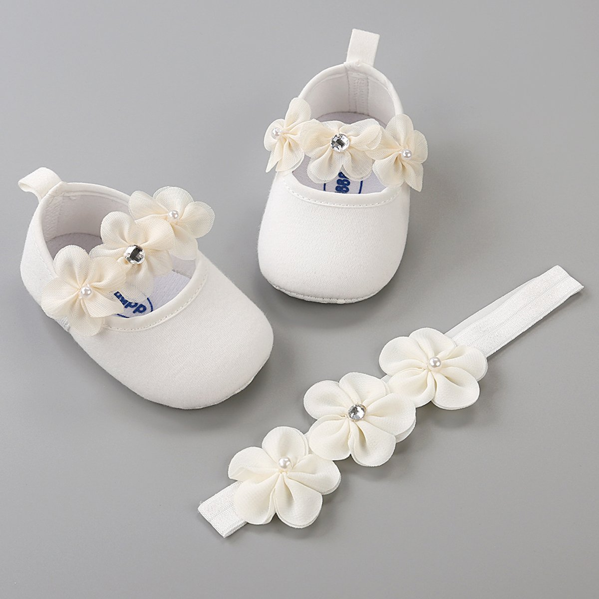LIVEBOX Baby Infant Girls Shoes, Soft Sole Prewalker Mary Jane Princess Dress Crib Shoes with Free Baby Headband for Attend Wedding Birthday Party Events (White, S) by LIVEBOX (Image #3)