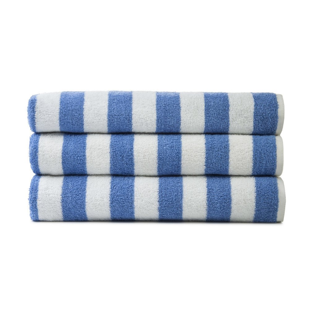 Golden Mills Cabana Blue Striped Pool Towel - Measuring 30x60inches these towels are perfect for pools, gyms, spas and any other health facilities - recieve 36 towels per order - $6.74 per towel