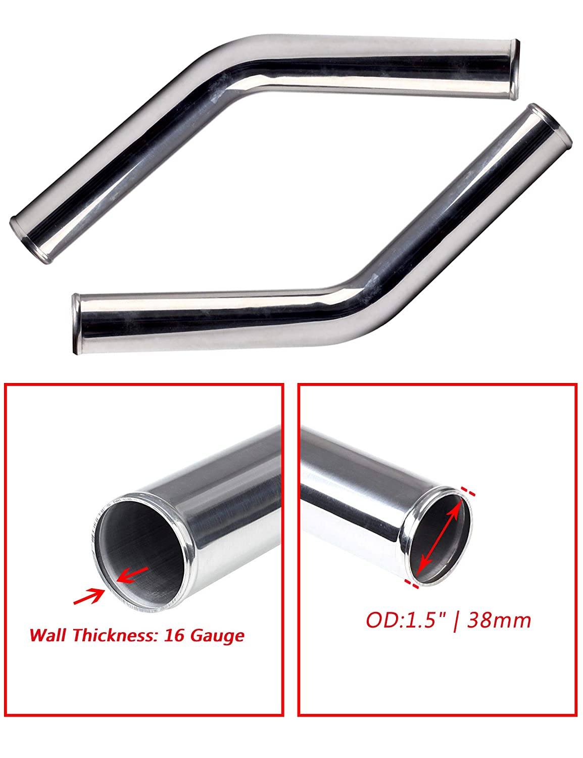 38mm BLACKHORSE-RACING 45 Degree Aluminum Intercooler Piping and Intake Pipe for Universal Use 2pcs Wall Thickness 16 Gauge OD 1 1//2 1.5 Inch Total Length 600mm