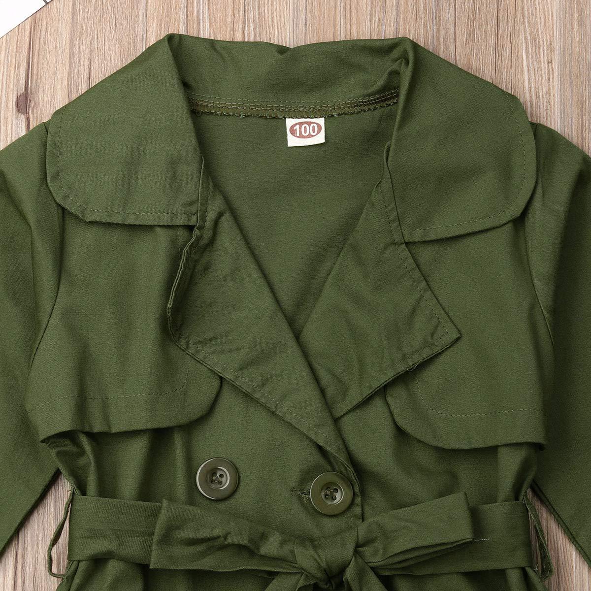 Merqwadd Toddler Kids Girls Double Breasted Belt Windbreaker Jacket Trench Coat Fall Outwear Clothes