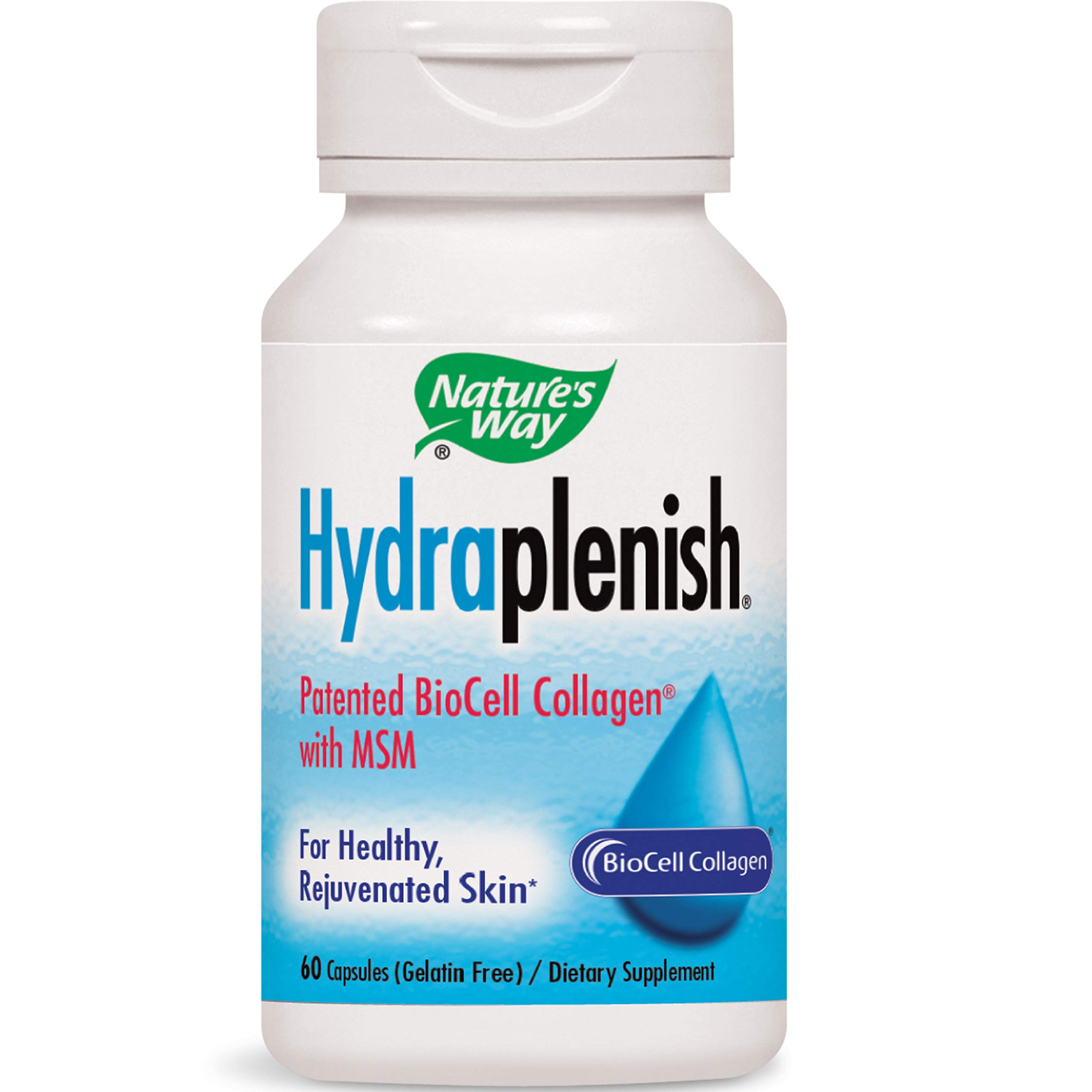 Nature's Way Hydraplenish Patented BioCell Collagen w/MSM, 60 Gelatin Free Capsules by Nature's Way