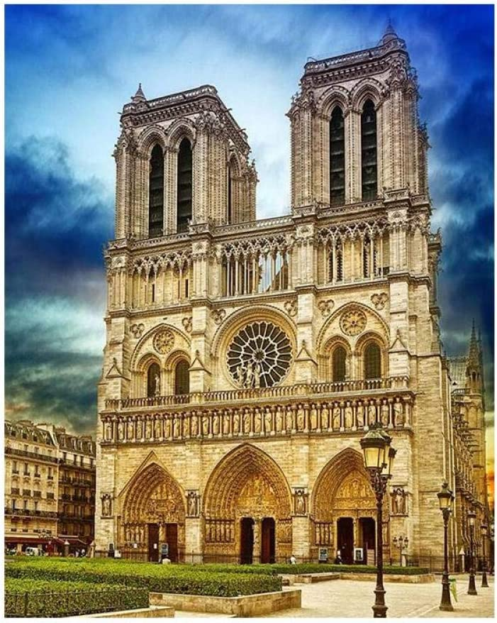 Paint By Numbers For Adults And Kids,Diy Acrylic Painting Kit For Beginner,Modern Creative Blue Sky Notre Dame Cathedral Building Landscape Painting On Canvas Painting For Home Wall Living Room Bedr