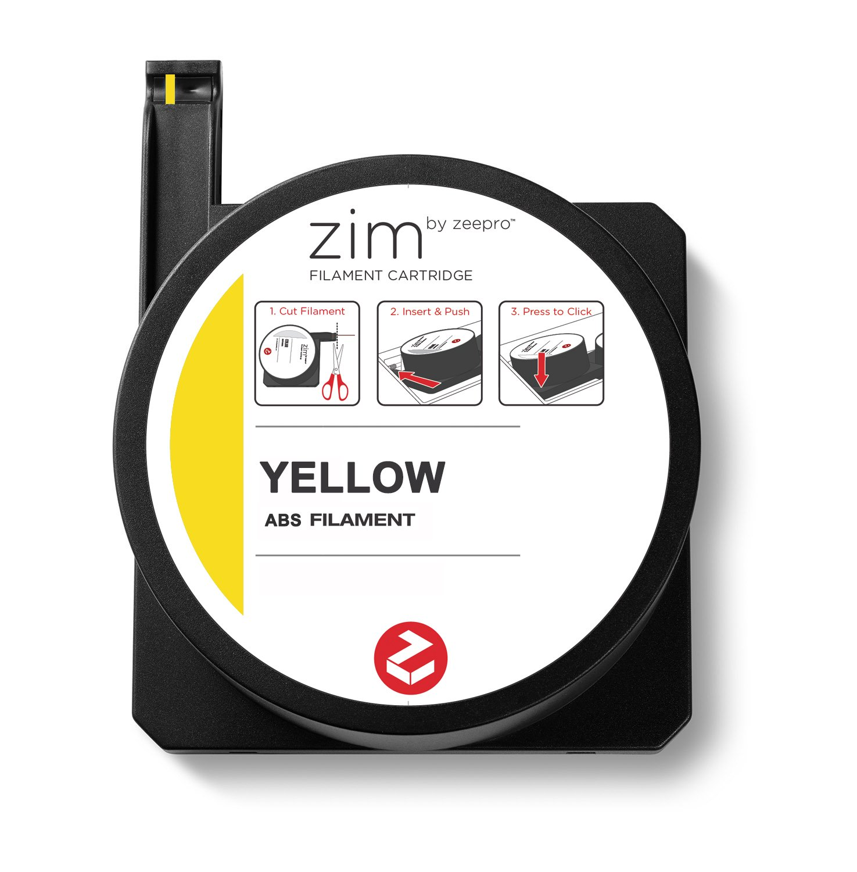 Yellow 250g Zeepro ABS Plastic Filament Cartridge 1.75mm Diameter