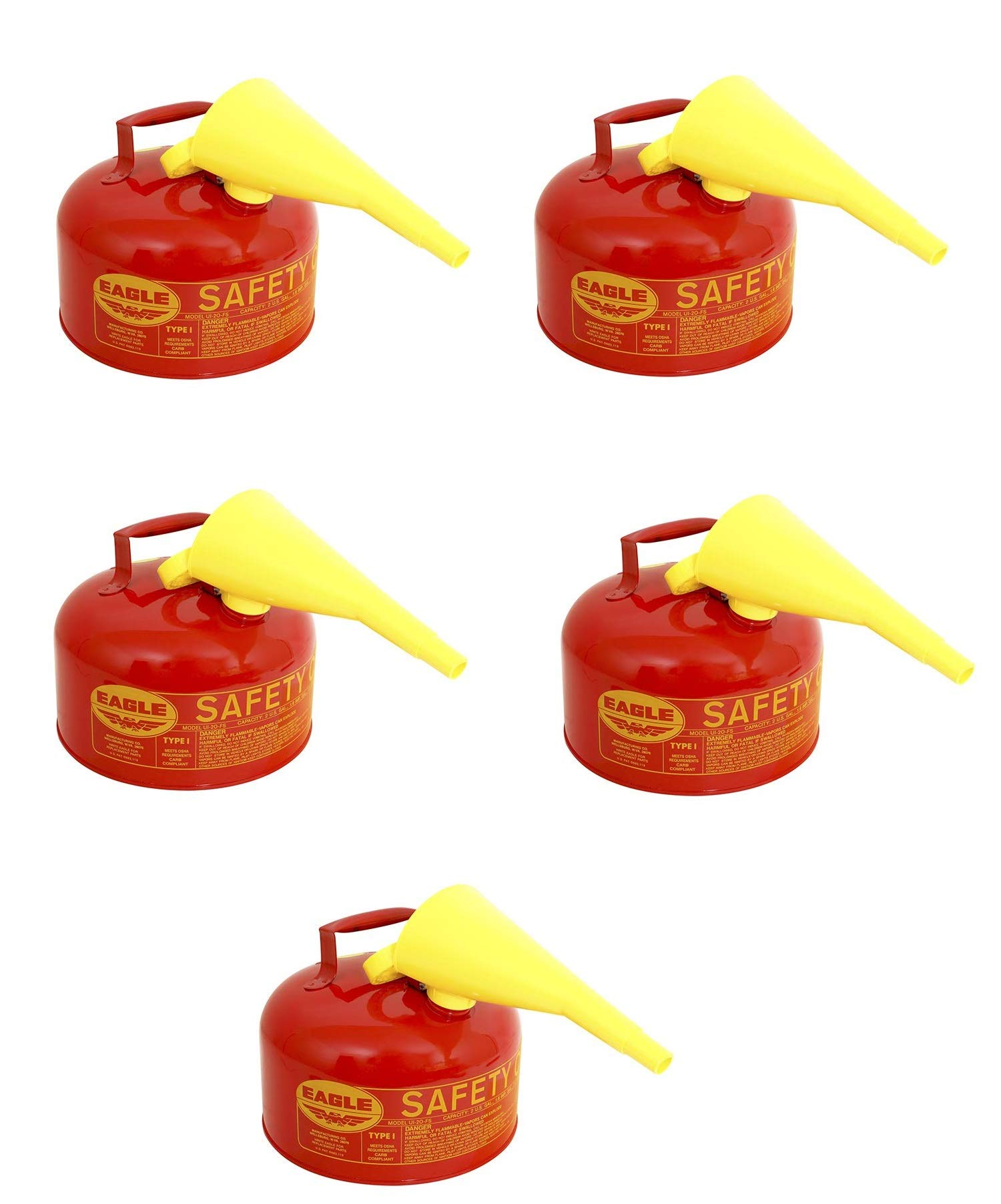 UI-20-FS Red Galvanized Steel Type 1 Gasoline Safety Can with Funnel, 2 gallon Capacity, 9.5 in Height, 11.25 in Diameter