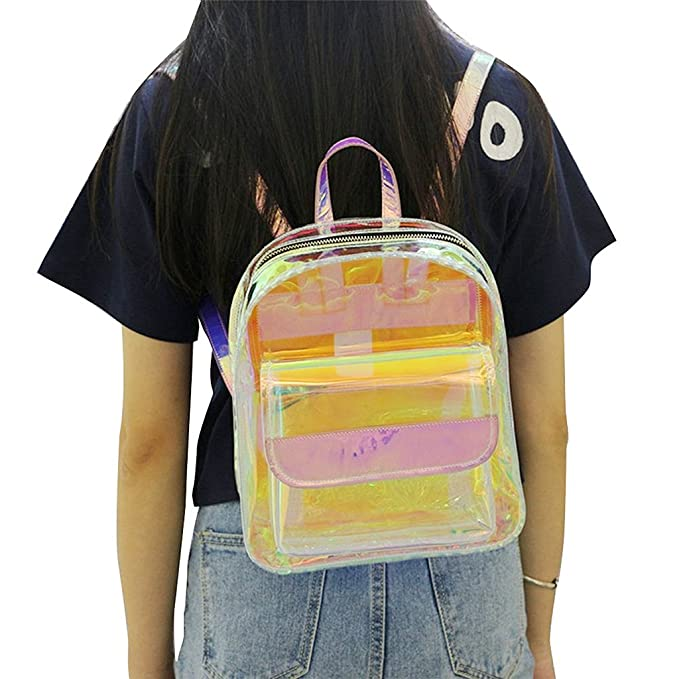 Amazon.com: Numkuda Women Girls Transparent Laser Backpack Clear PVC School Book Bag: Clothing