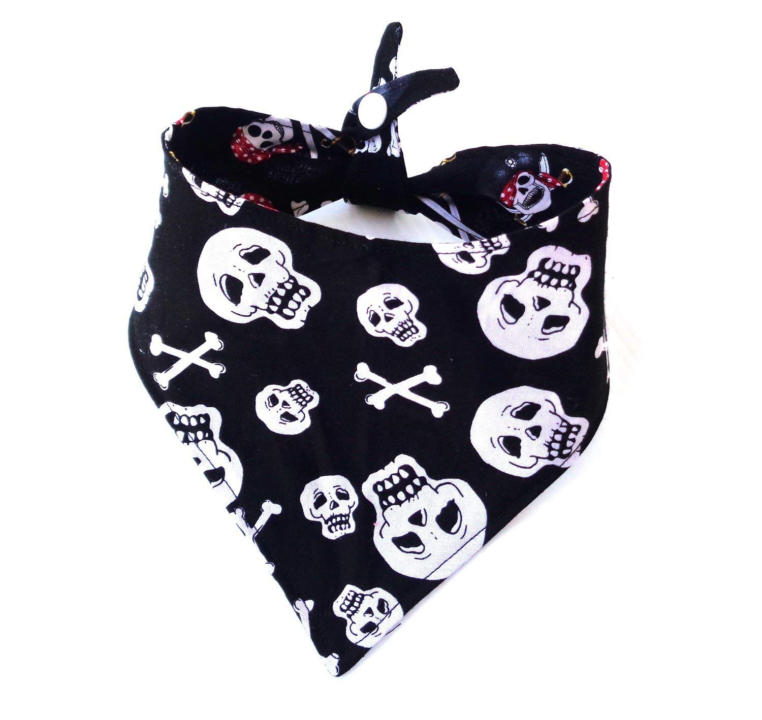 Reversible Skull and CrossBones Pirate Prints dog bandanna with Tie On and Snap Closure Summer All Year Halloween Day of the Dead Petwear Neckwear