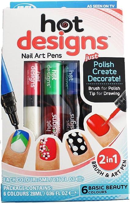 Hot Designs - Pack de 6 pintauñas: Amazon.es: Belleza