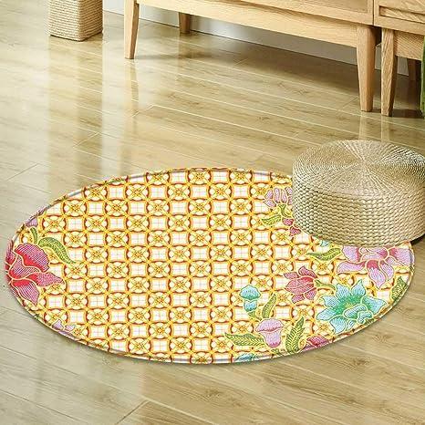 Mikihome Print Area Rug Batik Decor Traditional Malaysian Batik Form with  Flower and Leaves Javanese Heritage 2397345de8