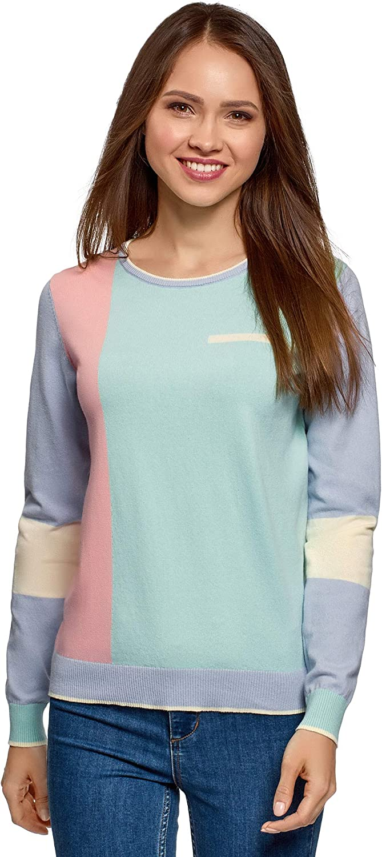 oodji Ultra Mujer Jersey Estampado Colour Block de Algodón