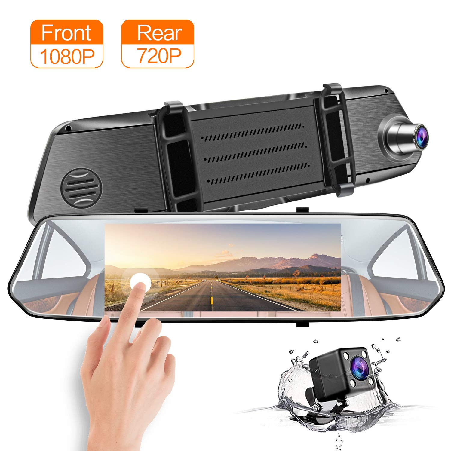 CHICOM Mirror Dash Cam, Dashboard Camera Recorder 7' LCD Full HD 1080P IPS Touch Screen Dual Lens Front Rear View Car Video Recorder with G Sensor, Parking Monitor, Loop Recording (1080P)